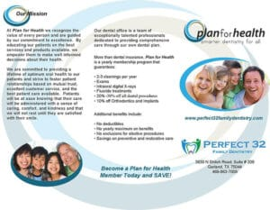 Front Side of Plan for Health Brochure, Dentist Garland, Tx